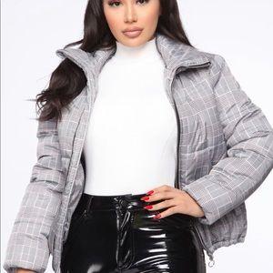 Grey plaid puffer coat